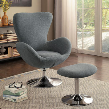 Home Elegance 1267GY Thrive gray fabric swivel chair with ottoman chrome base