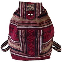 Baja Backpack Indian Bag Mexico - Dark Red Tan Black White Combination