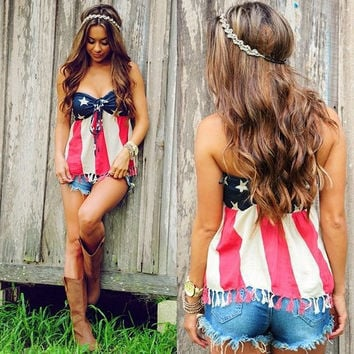 Strapless Sleeveless Flag Backless Short Tassel Patchwork Crop Tops