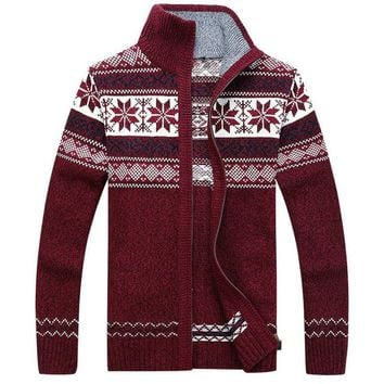 Men Sweater Autumn Winter Wool Cardigan Jacket Men's Fashion Casual Jacquard Sweater Coat Christmas Knitted Wear Hombre
