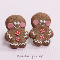 Gingerbread Men Studs / Post Earrings - Christmas Cookies - Christmas Collection