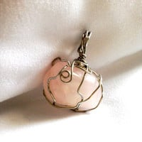 Rose Quartz Wire Wrapped Crystal Pendant