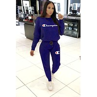 Champion women's letter embroidery print sports two-piece suit Blue