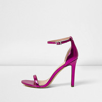 Metallic pink barely there heeled sandals - sandals - shoes / boots - women