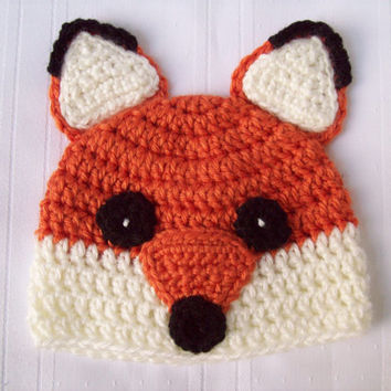 Crochet Fox Baby Hat // Fox Newborn Baby Hat // Fox Beanie // Newborn Photo Prop