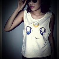 Luna Cat Sailor Moon Rocker Shirt Women Girl Side Boob Tank Tops