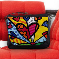 Romero Britto Neo-pop Abstract Artwork Nylon Messenger Sling Laptop Notebook Bag