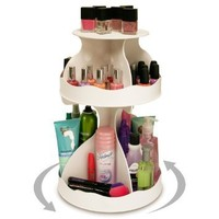 "Cosmetic Organizer that Spins ! Makeup is Now at Your Fingertips. Pretty in White & Perfect for any Countertop, Almost Triples Your Storage, Only 12"" needed & No More Clutter!! ...Proudly Made in the USA! by PPM."