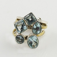 Blue Topaz Sterling Silver Two Tone Stack Ring