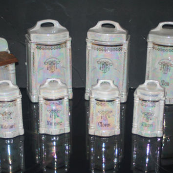 Vintage German Canister Set, Pearl Lusterware Set, Salt Box And Canisters