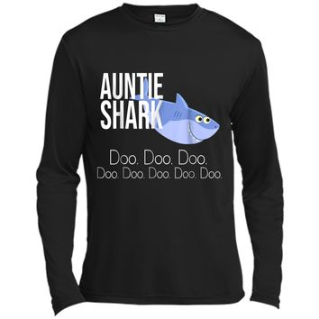 """Auntie Shark"" Baby Mommy Daddy Matching Family Shark  Long Sleeve Moisture Absorbing Shirt"