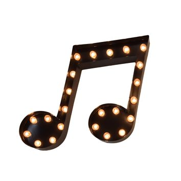 Music Note Vintage Marquee Lights Sign (Black Finish)