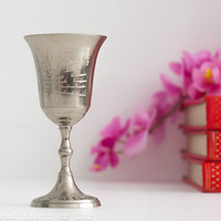Silver Kiddush Cup / Silver Plated Goblet: Vintage Wine Cup, Chalice, Judaica