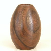 Oval Vase Handcrafted in Walnut