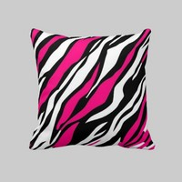 Bright pink and black zebra Throw Pillow from Zazzle.com