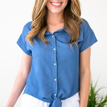 Shifting Gears Tie Front Button Top in Blue