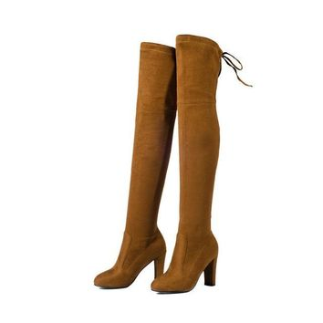 Western Style Spring Over The Knee Boots Square High Heel Women Boots Sexy Ladies Lace Up Fashion Boots