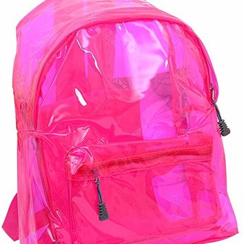 Stylish Transparent Backpack Cute School Shoulder Bag Satchel for Boys Girls (Rose Red)