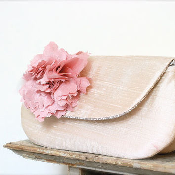 Bridesmaids Gifts, Blush pink wedding clutch bags