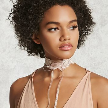 Embroidered Lace-Up Choker