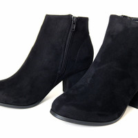 Faux-Suede Black Booties