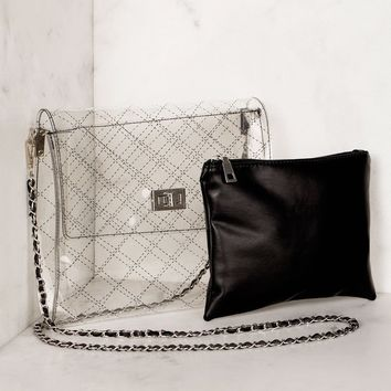Clearly Quilted Black Transparent Cross Body Bag