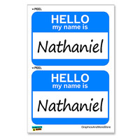 Nathaniel Hello My Name Is - Sheet of 2 Stickers