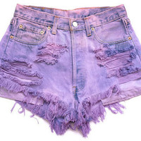 Super Distressed Purple Shorts from ShopWunderlust