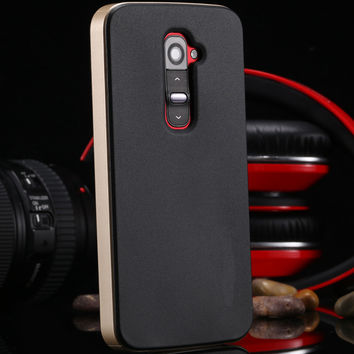 For LG Optimus G2 D802 D801 D800 LS980 Luxury Tough Cool Dual Layer Slim Case For Lg G2 Cool Hard Back Armor Cover With Logo