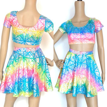 Rainbow Hologram Set - Crop Top & Circle Skirt