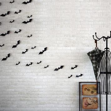12pc SET 3D DIY PVC Bat Wall Stickers For Kids Rooms Home Decor Living Room Halloween Decoration Wall Decals Vintage Poster