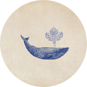 Damask Whale Circle Wall Decal