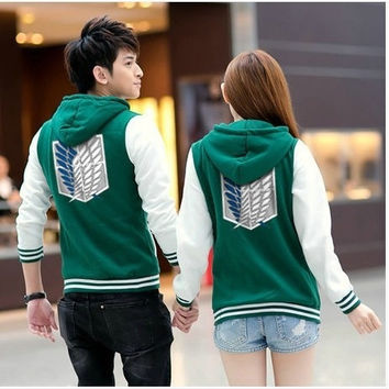 Shingeki No Kyojin Attack On Titan Jacket Scratched Velvet Fashion Casual Hoodies Sweatshirt Cosplay Anime Costume For Couples = 1932011332