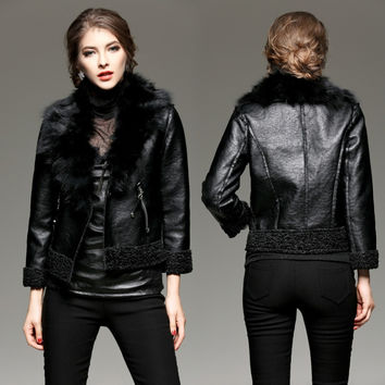 Fur Collar Wool Blends Lining PU Leather Jacket Coat