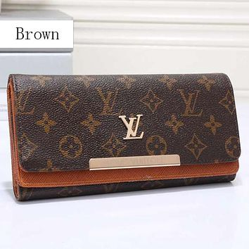 Perfect LV Women Leather Multicolor Wallet Purse