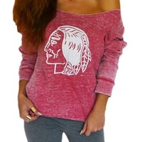 Chicago Blackhawks Womens Off Shoulder Sweatshirt | SportyThreads.com