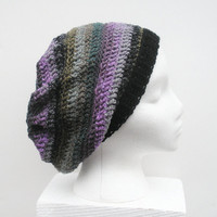 Lavender Stripes Slouch Hat with black, grey, teal and olive accents, ready to ship.