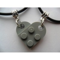 Couple Gray Heart His and Her Necklace Set Made Using Lego Bricks.