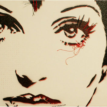 LIZA MINNELLI CABARET Portrait 11x14 Original Painting Graffiti Street Art and Pop Art Inspired on Canvas Warhol Banksy Obey Style