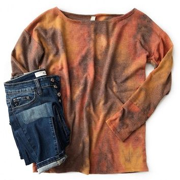 NEW! Rust Tie Dye Pullover