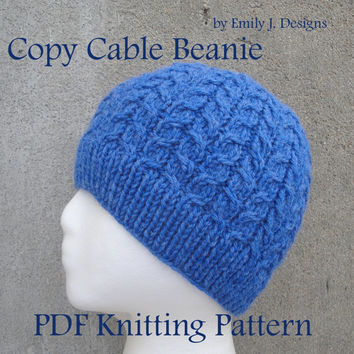 Copy Cable Beanie PDF Knitting Pattern, Intermediate, Cabled Ribbed Hat, Worsted Weight Yarn, Kids Teens Women Men