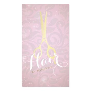 Hair Stylist Gold Scissors and Pink Glitter Damask Business Card