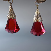 Vintage Czech Ruby Red Pendant Faceted Glass Top Drilled Pendant 1 x 5/8 inch, 11x 26mm- 2 pieces