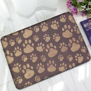 Autumn Fall welcome door mat doormat Vintage Brown Dog Paw Flannel Water Absorbent Anti Slip Front s  For Kitchen  Outdoor For Entrance Door Funny AT_76_7
