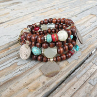 Wood and Vintage Gypsy Metalwork Bracelet - Memory Wire Coil Bracelet, Turquoise, Red and Sage