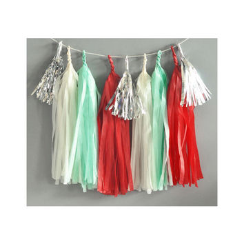 Paper Garland & Metallic Mini Tassels - 20 Tassel DIY Kit - Red Aqua Ivory Silver Foil - Wedding Decor Party Bridal Shower Baby Birthday