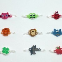 2-Clip Connector Charms for Rainbow Loom Bracelets (Pack of 9) (Animal Pack)