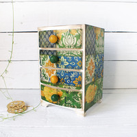 Spring Love vintage look Mini wooden chest drawers,apothecary cabinet , Boho stile, romantic, green, blue,yellow