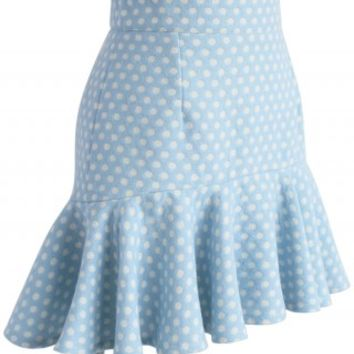 Sprightly Polka Dots Wool-blend Bud Skirt - Retro, Indie and Unique Fashion