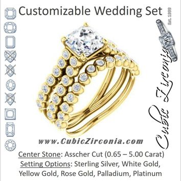 CZ Wedding Set, featuring The Roxana engagement ring (Customizable Asscher Cut Design with Beaded-Bezel Round Accents on Wide Split Band)